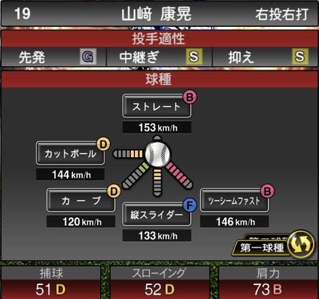プロスピA山﨑康晃2021シリーズ2の第一球種のステータス