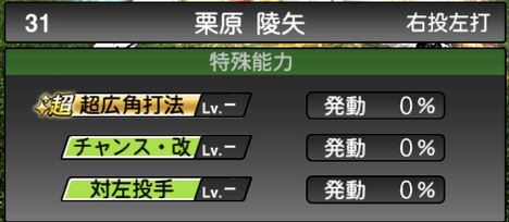プロスピA栗原陵矢2021シリーズ2の特殊能力