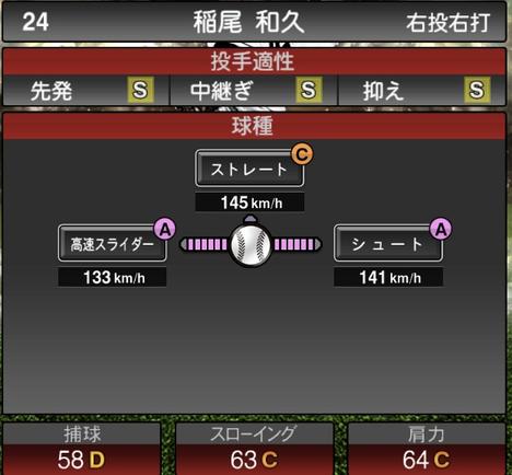 プロスピA2021シリーズ稲尾和久2OBの第一球種のステータス