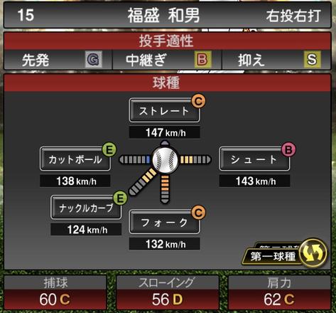 プロスピA2021シリーズ福盛和男2OBの第一球種のステータス