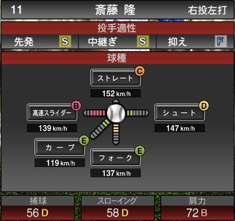 プロスピA2021シリーズ斎藤隆2OBの第一球種のステータス
