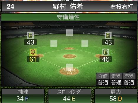 プロスピA野村佑希2021シリーズ2の守備評価