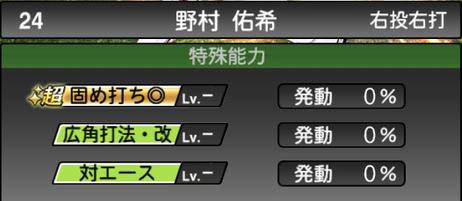 プロスピA野村佑希2021シリーズ2の特殊能力