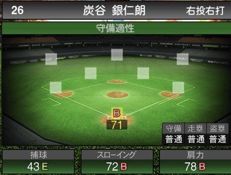 プロスピA炭谷銀仁朗2021シリーズ2の守備評価