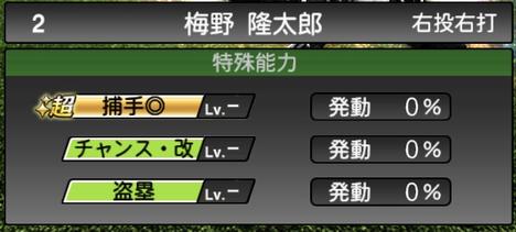 プロスピA梅野隆太郎2021シリーズ2の特殊能力